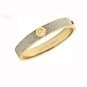 MICHAEL KORS Gold MK Logo Crystal Bangle Bracelet
